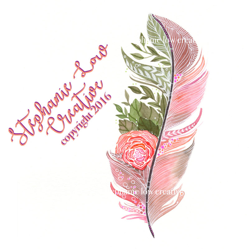 Rose Watercolored Feather