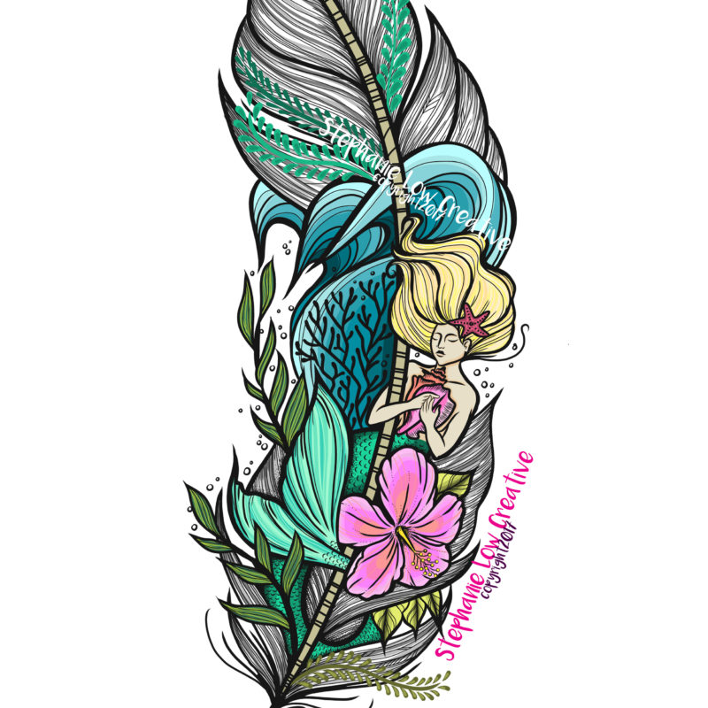 Mermaid and oceanic inspired feather tattoo